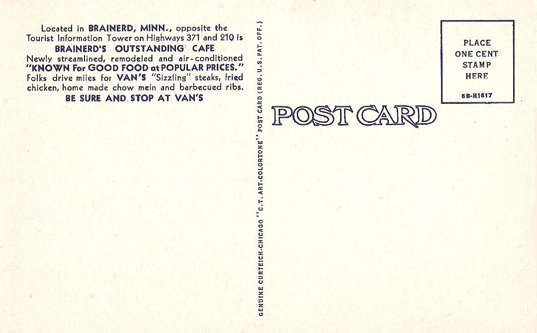 Van'S Cafe, Brainerd, Minnesota - Postcards